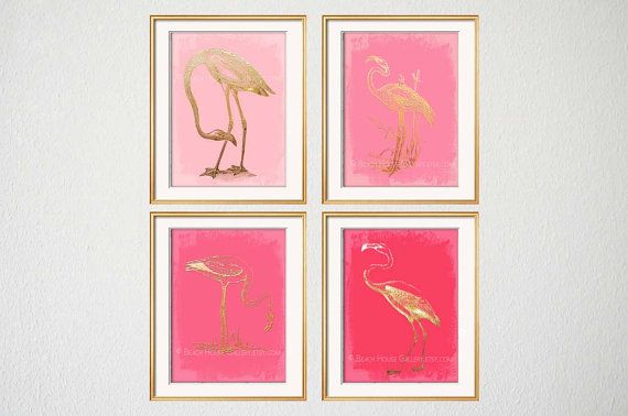 Flamingo Art, Pink Flamingo, Warm Pink, Florida Beach House Decor, Pink Coral, Bedroom Wall Art, Girly Home Office Art, Pink Gold Art