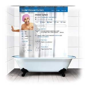 Spinning Hat Social Shower Curtain: Showers, Facebook Shower, Stuff, Social Media, Funny, Shower Curtains, Showercurtain, Products