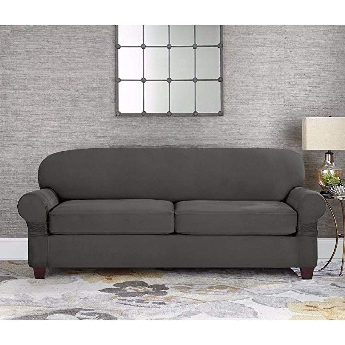 Amazon Com Sure Fit Designer Suede 2 Cushion Loveseat Slipcover