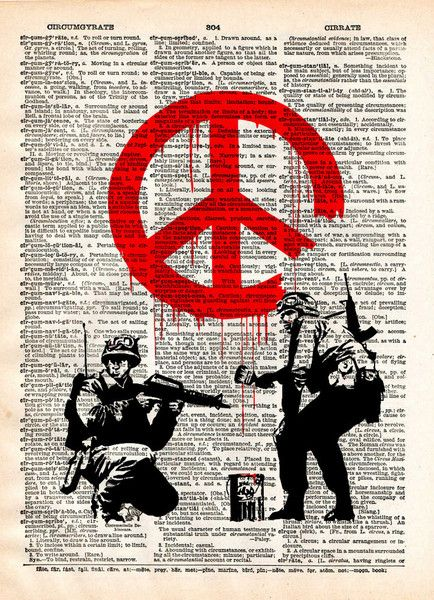 Banksy graffiti art, peace soldier, s vintage dictionary page book art print