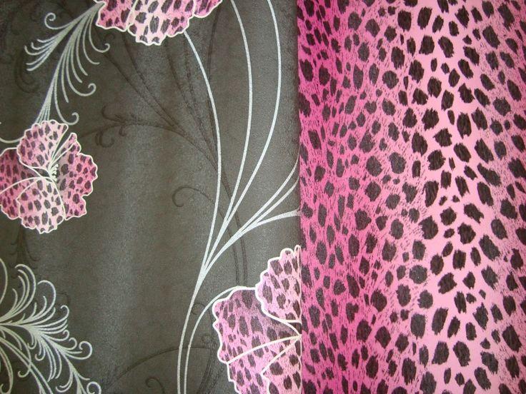 roze zwart luipaardprint vinyl behang 125  Dierenprint behang ...