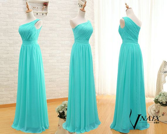 Turquoise Prom Dress Elegant Formal One Shoulde by VnaixBridal