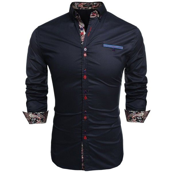 Coofandy Men's Fashion Slim Fit Dress Shirt Casual Shirt (27 AUD) ❤ liked on Polyvore featuring men's fashion, men's clothing, men's shirts, men's dress shirts, mens slim shirts, mens slim fit dress shirts, mens slim fit shirts and mens dress shirts