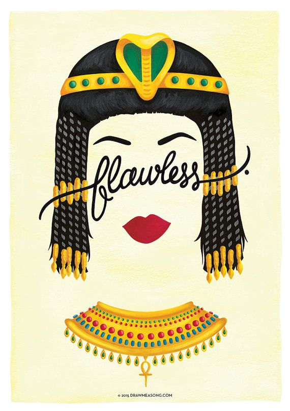 Flawless Cleopatra Poster Calligraphy Print by DrawMeASong on Etsy