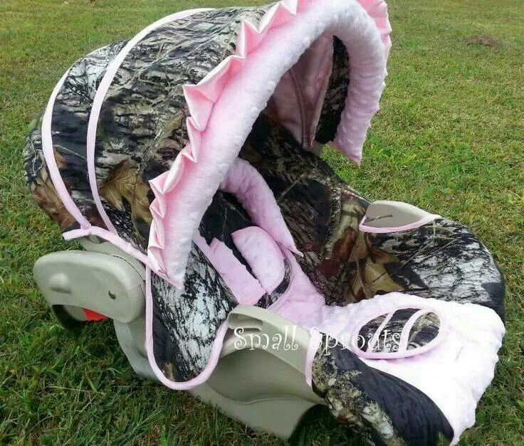 Adorable Baby Girl Camo Carseat Cover