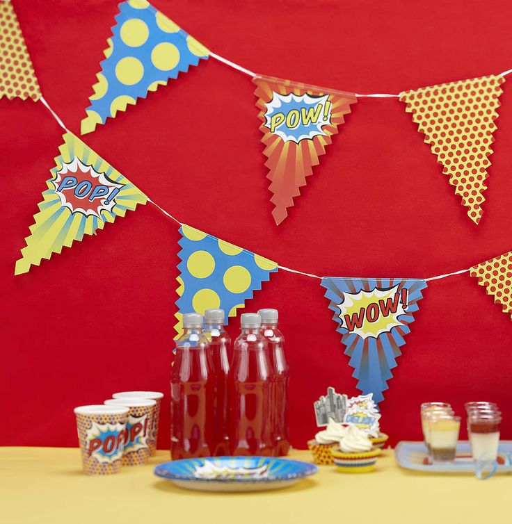 superhero pop art party bunting by ginger ray | notonthehighstreet.com