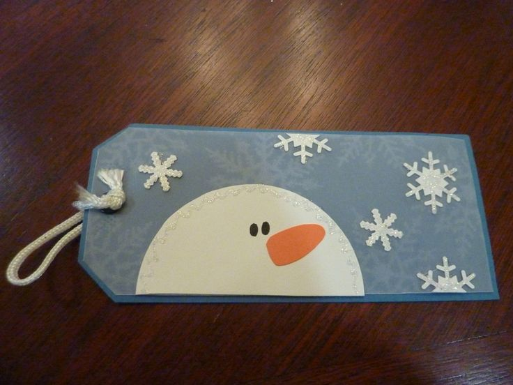HANDMADE large snowman tag stickles, printed vellum