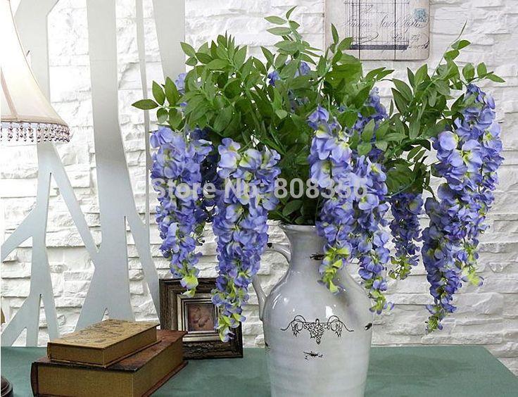 "Silk Wisteria 108cm/42.52"" Length Artificial Wisterias Hyacinth Cream/Green/Blue/Purple 3 Heads for Wedding Photograph Props"