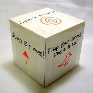 Exercise dice for a using-up-energy game
