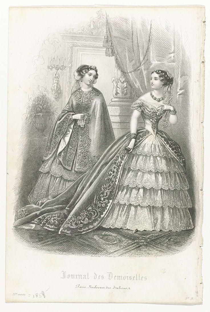 Hopwood | Journal des Demoiselles, 1854, No. 2, 22e année, Hopwood, Préval, Rossin, 1854 | Twee vrouwen in een interieur. Links: mantel met bloem- en bladmotief op een wijde rok. Rechts: avondjapon met boothals, korte mouwen en puntig lijfje. Wijde rok met vijf gerimpelde stroken stof met geschulpte zoom waarover een lange hofsleep. In het haar een diadeem(?) van sterren en voile. Verdere accessoires: collier, korte handschoenen, armbanden. Prent uit het modetijdschrift Journal des…