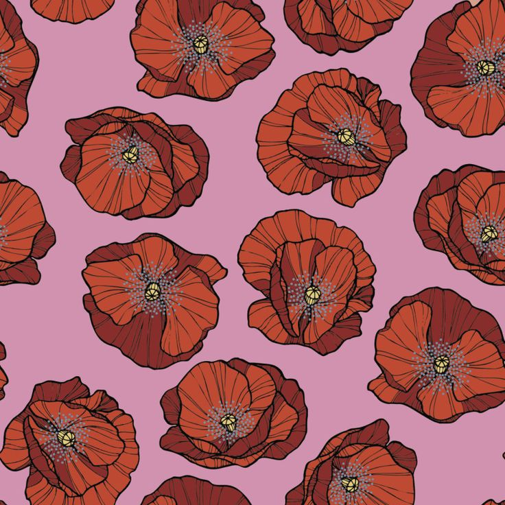 "Grafica di Insunsit: ""Poppies"" #pattern #thecolorsoup #papaveri #rosa #rosso #poppies"