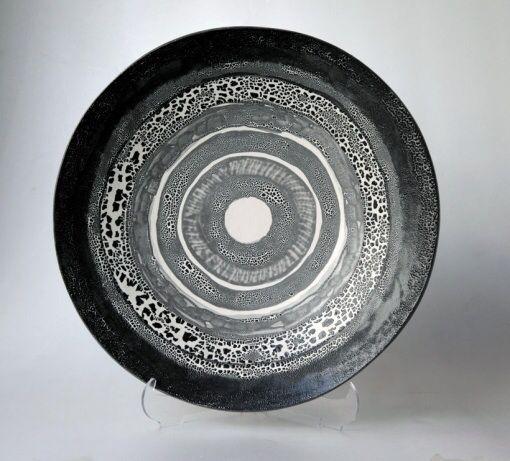 Siyah beyaz dekoratif tabak - seramik el yapim