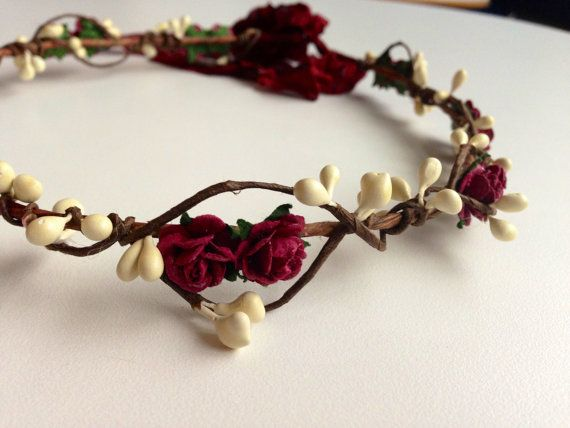 Tinkerbell's Woodland flower hair wreath (purple plum rose) - rustic nature vintage inspired crown with burgundy berries
