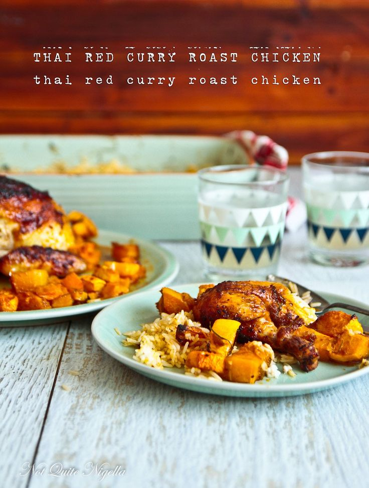 Easiest Thai Red Curry Roast Chicken, Pumpkin & Spiced Rice!
