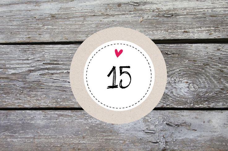 24 x Advents-Aufkleber Kraft weiß Herz 4cm von einfachSchön auf DaWanda.com