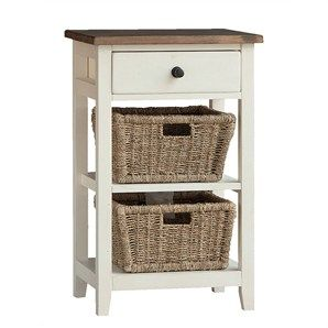 White Haven Solid Pine Timber Single Drawer Storage Unit with 2 R...