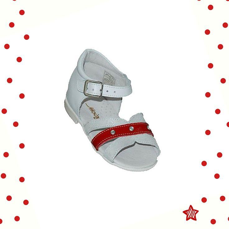 #baby #shoes Πέδιλο Μούγερ δερμάτινο για τα πρώτα βήματα, λευκό - κόκκινο με τρουκ, κλειστή φτέρνα και ανατομικό πάτο.