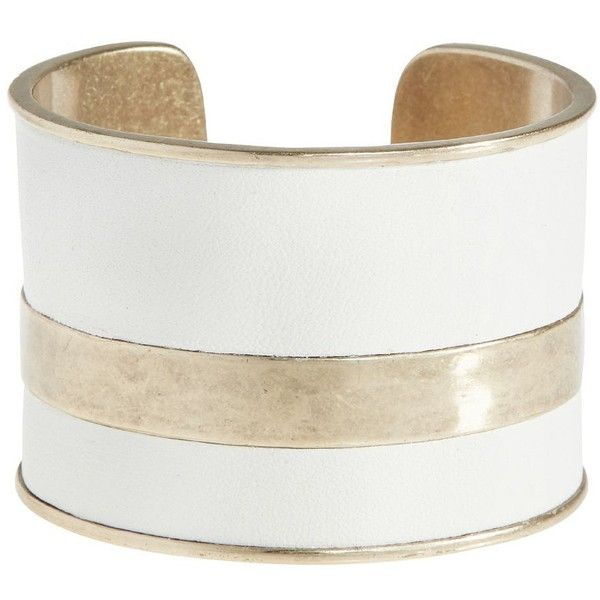 Lucky Brand White Leather Cuff ($49) ❤ liked on Polyvore featuring jewelry, bracelets, medium dark yellow, lucky brand jewelry, white bangle, yellow jewelry, lucky brand jewellery and white jewelry