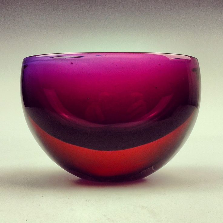 Seguso Vetri d Arte Murano sommerso blue red glass vase bowl by Flavio Poli
