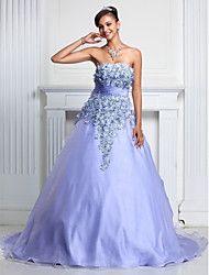 [$149.99]  Vestidos princesa / Formato A Sem Alças Cauda de organza / Evento Formal Vestido com Renda / Shirred de TS Couture®