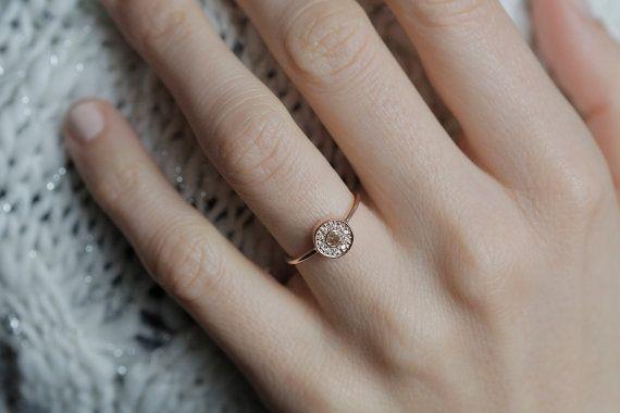 Halo diamant bague de fiançailles bague de diamant par MinimalVS