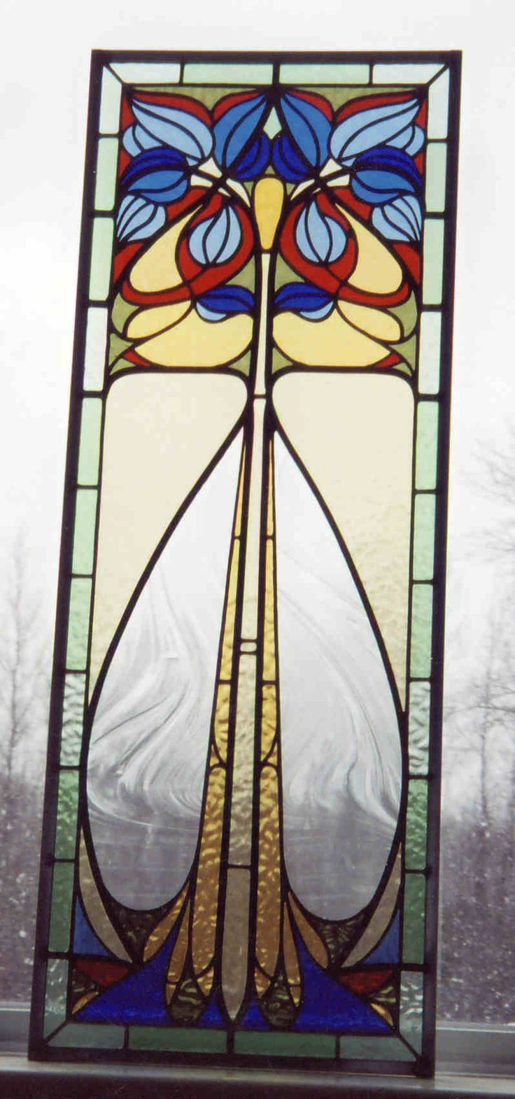 Franklin art glass studios inc clear cotswold glass 3 320 - Art Nouveau Stained Glass Panel By Gary Wilkinson