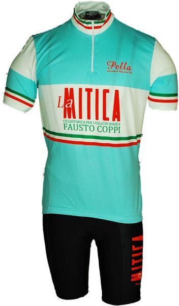 This tribute to Fausto Coppi jersey is very sharp. La Mitica means