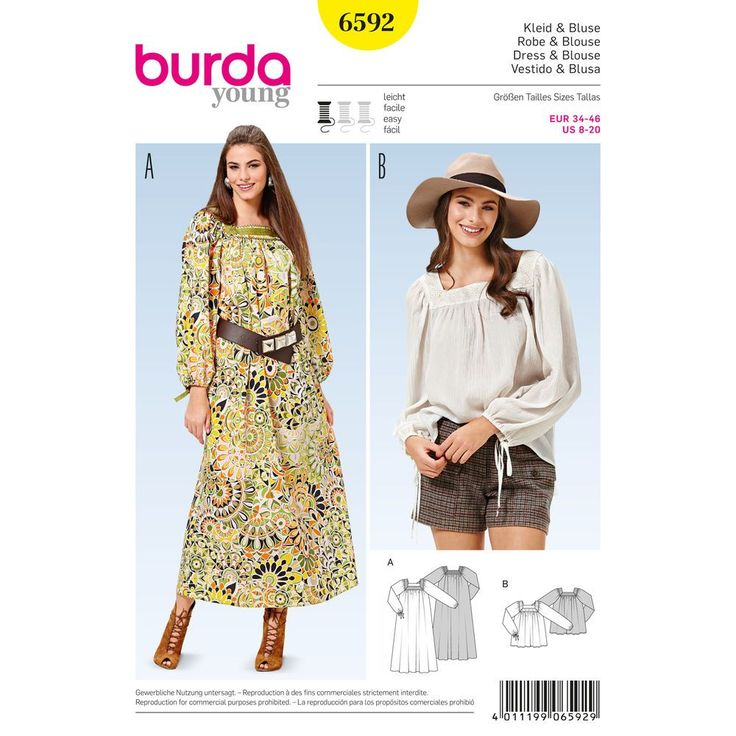 A dress and blouse in a Boho-chic look call for ornamental prints or crepe-like cotton fabrics. The square neckline presents a nice frame with pretty trims and ribbons. A Burda Style sewing pattern.