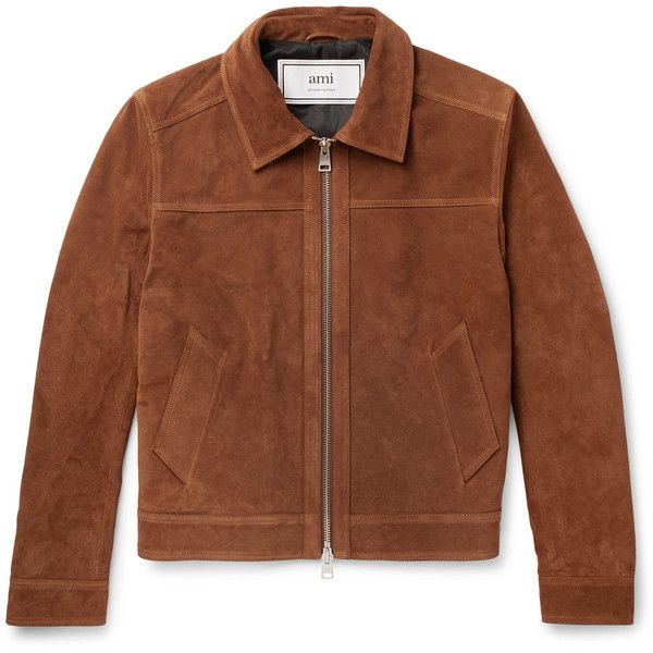 AMI Slim-Fit Suede Jacket ($1,370) ❤ liked on Polyvore featuring men's fashion, men's clothing, men's outerwear, men's jackets, mens zip jacket, mens suede leather jacket, mens suede jacket, mens slim fit jackets and mens camel jacket