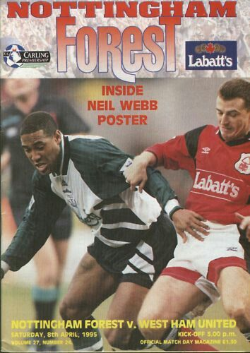 Nottm Forest 1 West Ham 1 in April 1995 at the City Ground. The programme cover #Prem