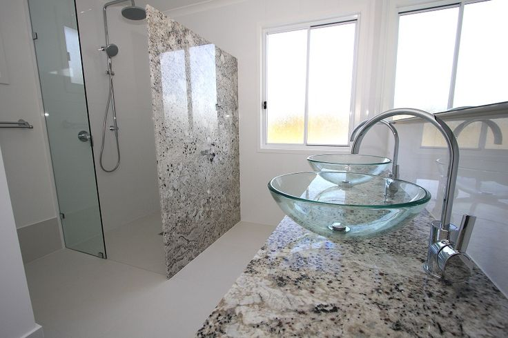 Natural Stone (Granite) for vanity and Shower wall for a client's home. www.acetone.com. au