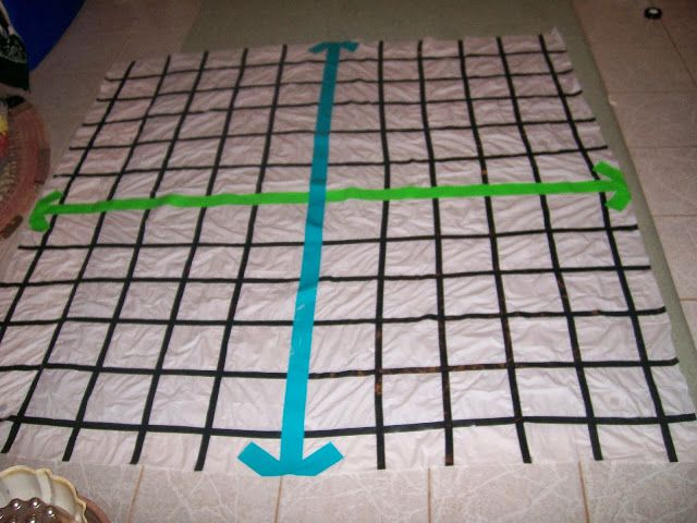 Coordinate plane out of shower curtain, duct tape and electrical tape