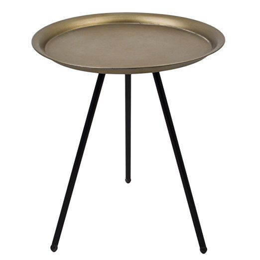 Vintage Design Metal Round Side Table Tripod Black Champagne Table - 43x35x35cm