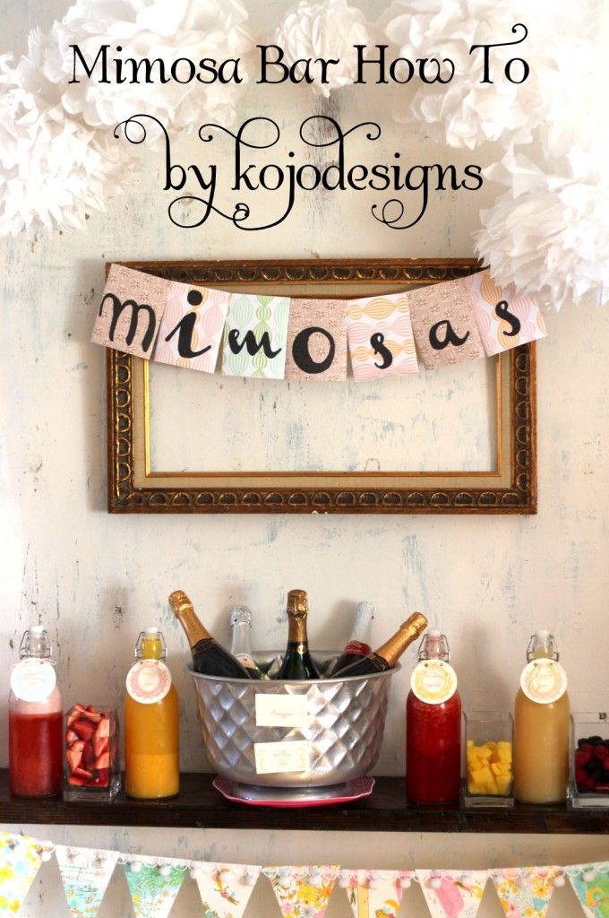 Love this and Mimosa's!!! Mimosa Bar, with shopping list and all  Also add -   Fresh pineapple juice  Pomegranate juice  Freshly Squeezed Orange Juice  Grapefruit Juice  2  (or 3) bottles good quality sparkling wine or champagne  Peach Schnapps  fresh seasonal berries.