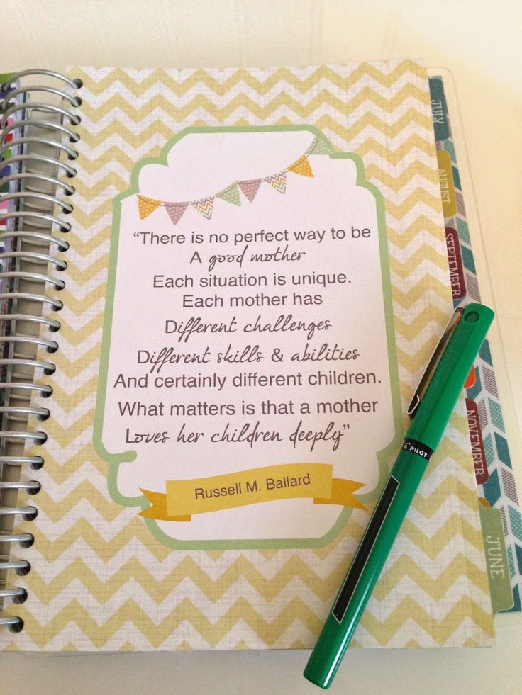 awesome Mormon Mom Planner - FHE, inspirational quotes, focus on family members, etc.
