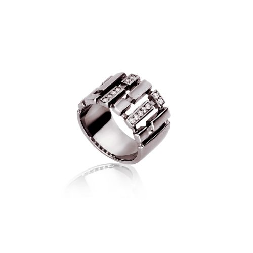 Cubic ring in 18KT black gold with diamonds.