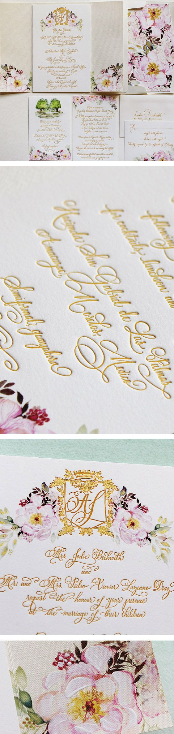 Gold custom calligraphy letterpressed into thick cardstock
