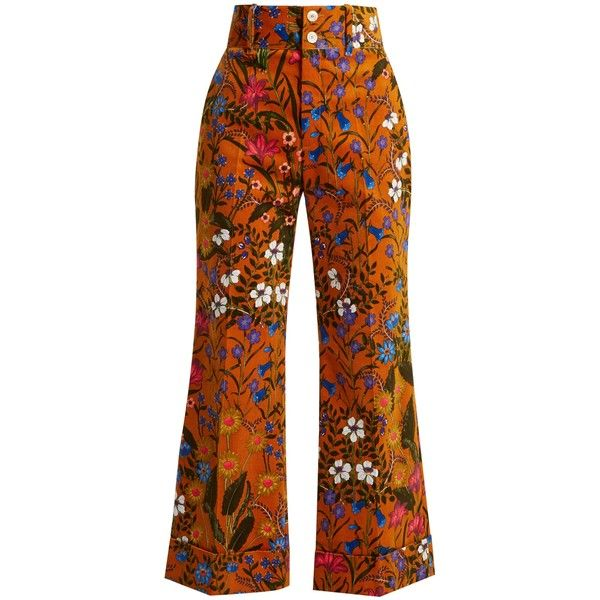 Gucci Floral-print wide-leg corduroy cropped trousers (£1,150) ❤ liked on Polyvore featuring pants, capris, bottoms, gucci, trousers, brown multi, flared pants, brown pants, brown corduroy pants and corduroy pants