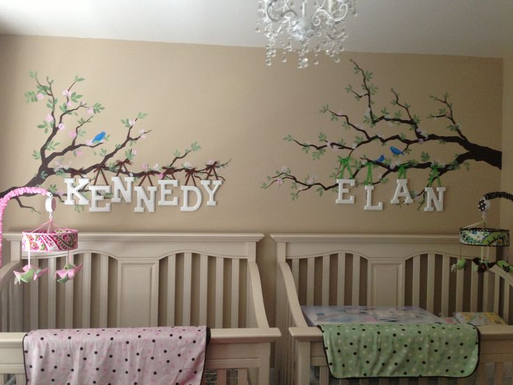 Cute way to do Twin baby nursery - incorporates a lot of ideas I had pre-twin knowledge.