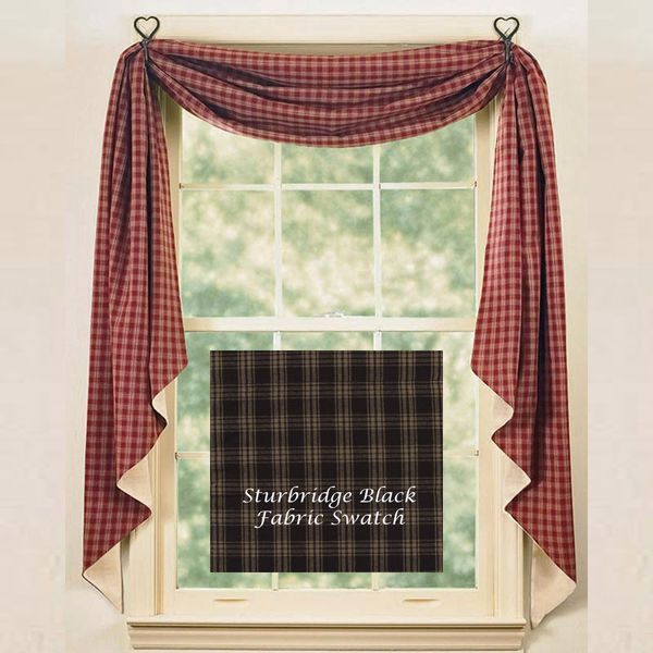 Country Style Kitchen Curtains Black Sturbridge Lined Fishtail Swag By