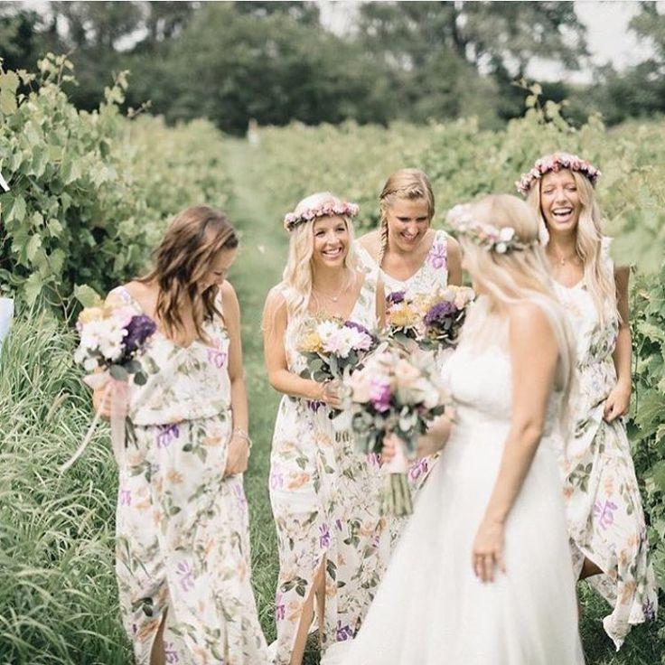 Beautiful bridesmaids all in Show Me Your Mumu Kendall Maxi Dresses!