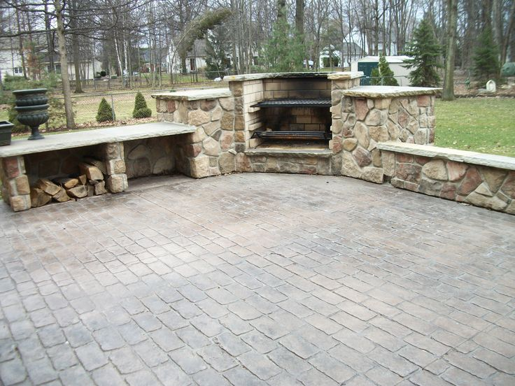 Cobblestone Stamped Concrete Patio With Outdoor Fireplace Grill Combo Out Door Fireplaces