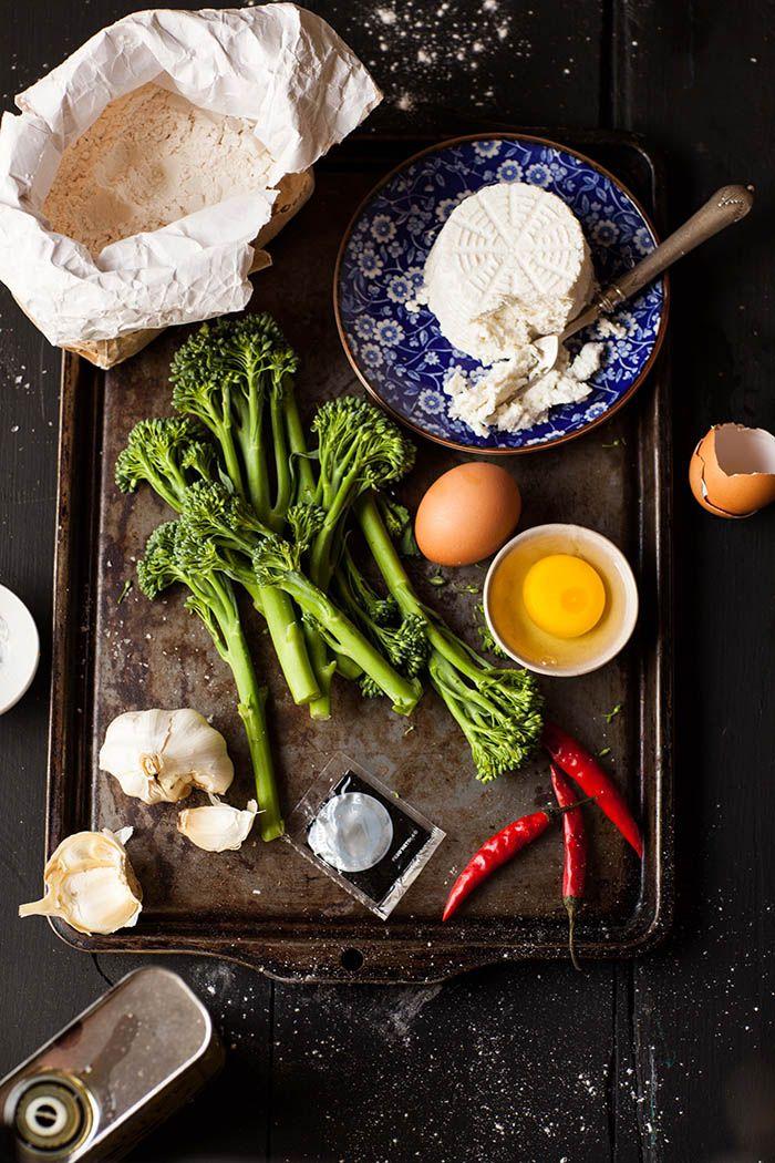 squid ink ravioli with broccoli and ricotta: