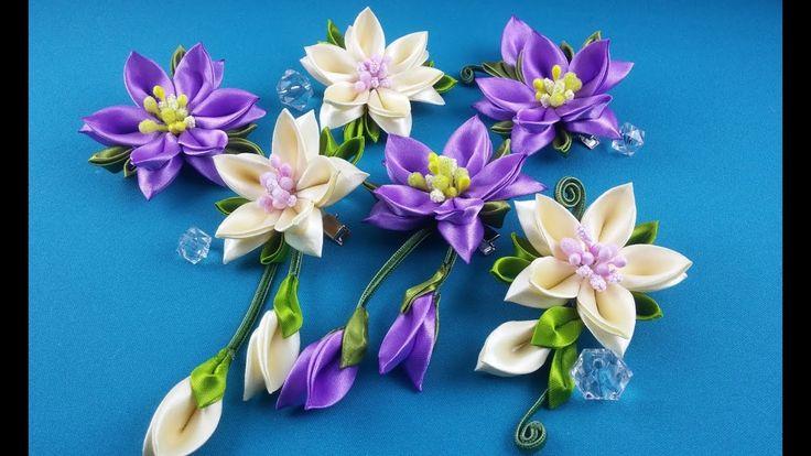 Ribbon flowers:hairpins set/Flores de cintas:conjunto de pelo clips/Цвет...