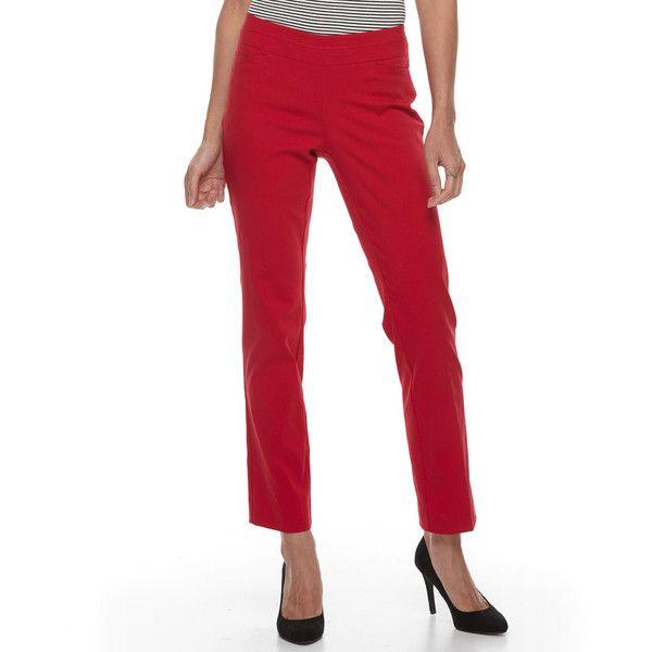 Petite Apt. 9® Pull-On Straight-Leg Dress Pants ($35) ❤ liked on Polyvore featuring pants, med red, petite, suit pants, apt 9 pants, pull on dress pants, white pull on pants and pull on pants