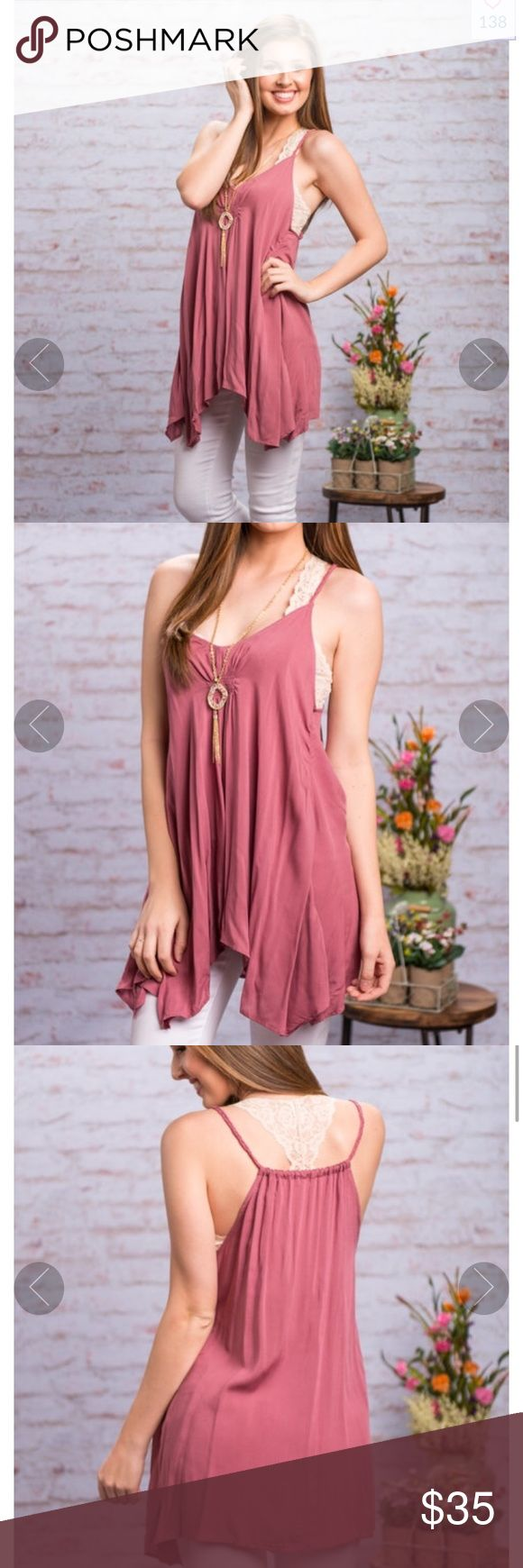 Mint Julep Boutique Top This tank is spring perfection! Beautiful Mauve color  Material has no amount of stretch. Miranda is wearing the small. Size small Mint Julep Boutique  Tops
