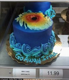 Publix Bakeryhas prepared this bespoke cake as Hurricane Irma heads towards the east coast, urging the storm to 'go away'