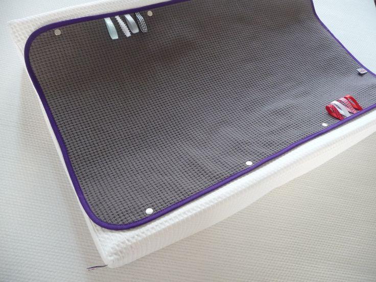 Basis aankleedkussen hoes met 2 verwisselbare lap bovenaan. Zo hoef je enkel de badstof lap te wassen, en niet steeds de hele hoes. Te bestellen in kleuren en afwerking naar wens.