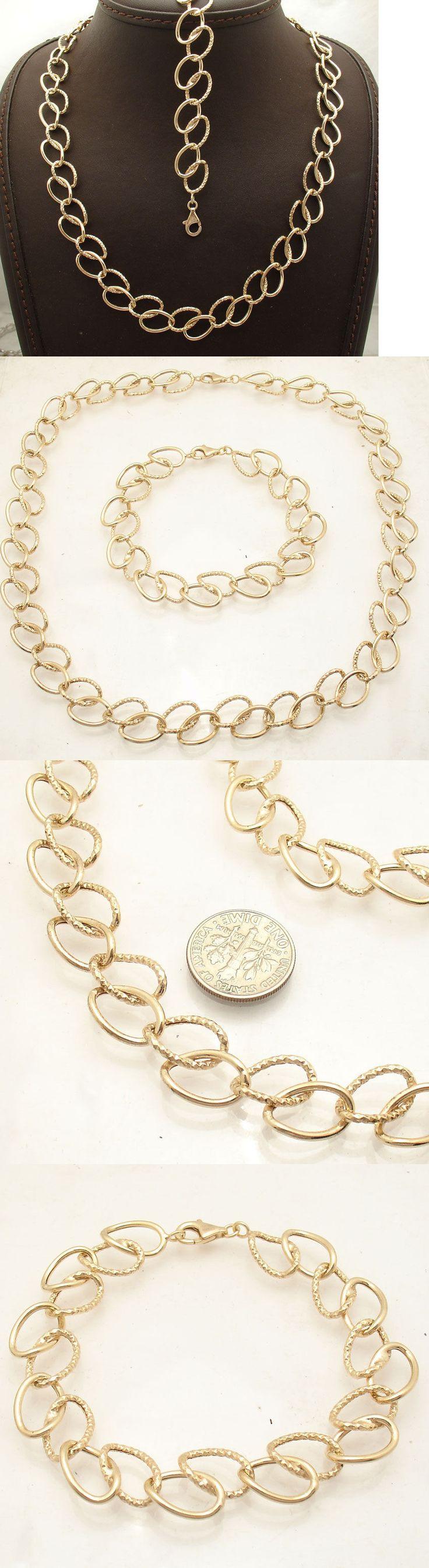 Precious Metal without Stones 164325: Technibond Diamond Cut Curb Bracelet Necklace Set 14K Yellow Gold Clad Silver BUY IT NOW ONLY: $65.87