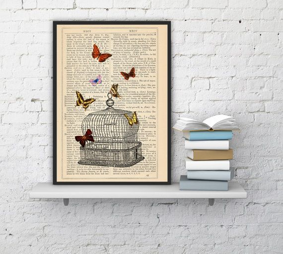 Release the Butterflies n06 Cage collage Print on Vintage Dictionary  page - book art print BPBB016